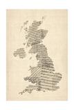 Great Britain UK Old Sheet Music Map