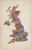 Great Britain UK City Text Map Reproduction d'art par Michael Tompsett