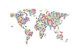 Carte du monde en chats Reproduction d'art par Michael Tompsett