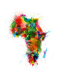 Paint Splashes Map of Africa Map Reproduction d'art par Michael Tompsett
