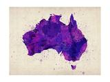 Australia Paint Splashes Map Reproduction d'art par Michael Tompsett