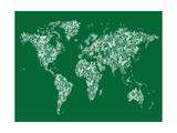 Butterflies Map of the World Map Reproduction d'art par Michael Tompsett