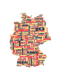 City Text Map of Germany Reproduction d'art par Michael Tompsett