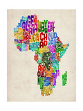 Typography Map of Africa Reproduction d'art par Michael Tompsett