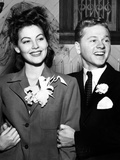 Ava Gardner and Mickey Rooney After Their Wedding  January  1942