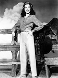 Ann Miller Wearing Slacks and Print Blouse  ca 1940s