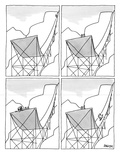 A four-paneled cartoon shows a skier on a huge ski jump He plunges down t… - New Yorker Cartoon