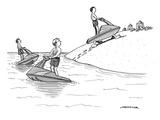 (A man on a jetski looks at another man on a jetski  whose jetski is walki… - New Yorker Cartoon