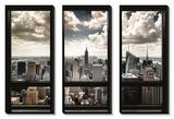 New York, fenêtre donnant sur gratte-ciels Tableau multi toiles