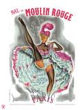 1962 Moulin Rouge cancan rose Giclée par Pierre Okley