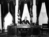 President Franklin Roosevelt at His Desk in the Oval Office  Dec 31  1934