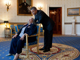 Pres Barack Obama Talks with Presidental Medal of Freedom Recipient Toni Morrison  May 29  2012