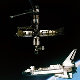 Space Shuttle Atlantis Departing the Mir Russian Space Station
