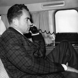 VP Richard Nixon Uses His Plane's Radiotelephone Enroute from Ecuador to Columbia  May 1  1958