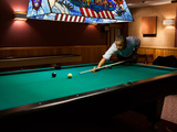Pres Barack Obama Plays Game of Pool Following Conclusion of G8 Summit  Camp David  May 19  2012