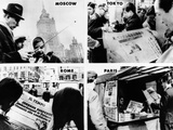 Newspaper Headlines World Wide Tell of President Lyndon Johnson's Decision Not Seek Re-Election