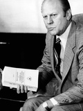 President Gerald Ford Holds Official Report of Rockefeller Commission's Investigation of the CIA