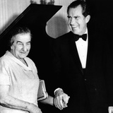 Pres Richard Nixon and Israeli Prime Minister Golda Meir Hold Hands  Mar 1  1973