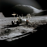 Apollo 15 Astronaut James Irwin Works at the Lunar Roving Vehicle at Hadley-Apennine Landing Site