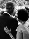 President Lyndon Johnson and Wife Lady Bird During a White House Ceremony  1964