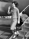 Jacqueline Kennedy Deplanes in New York City