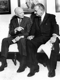 Former President Dwight Eisenhower with President Lyndon Johnson at the White House