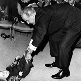 President Lyndon Johnson Tugs the Legs of His Baby Grandson  Lyndon Patrick Nugent