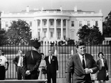President John Kennedy in Front of the White House