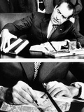 President Richard Nixon Signing the Budget for Fiscal 1972 Which He Is Sending to Congress