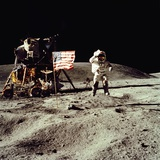 Apollo 16 Astronaut Salutes the US Flag on the Moon  July 21-24  1971