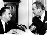 Pres Lyndon Johnson and Vice Pres-Elect Spiro Agnew in Discussion of Inauguration Day  Jan 20  1968