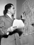 Representative Richard Nixon Studies His Campaign Map During His Campaign for Senator  Nov 6  1950