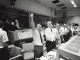Apollo 13 Flight Directors Applaud the Successful Splashdown of the Command Module