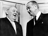 President Lyndon Johnson Meeting with West German Chancellor Ludvig Erhard