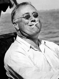 Pres Franklin Roosevelt Smokes Cigarette and Fishing During Vacation on Gulf of Mexico  May 10 1937