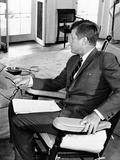 President John Kennedy in His Oval Office Rocking Chair