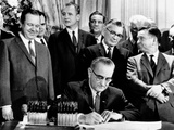 President Lyndon Johnson Signs a $115 Billion Tax Cut Bill