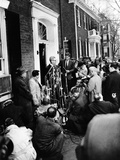 Mob Scene Outside President-Elect John Kennedy's Georgetown Home