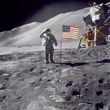 Apollo 15 Astronaut David Scott  Gives a Military Salute to US Flag on the Moon  July 30  1971