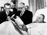 President Lyndon Johnson Working in Bed after Gall Bladder Surgery