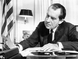 Pres Richard Nixon in Office Studying Background Material for Upcoming European Trip  Feb 2  1969