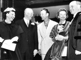 President and Mrs Eisenhower (Left) Talk with Cowboy Film Star Roy Rogers and His Wife  Dale Evans