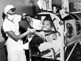 Polio Patient Flossie Rogers Looking at the World Through the Mirror of Her Iron Lung in June 1957