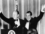 Pres Nixon and Vice Pres Gerald Ford at $1 000 a Plate Fund Raising Dinner  Mar 27  1974