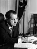 President Richard Nixon at His Oval Office Desk on His First Day as President  Jan 21  1969