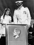 Caroline Kennedy and Capt Earl Yates  Commander of Aircraft Carrier  USS John F Kennedy