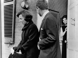 Jacqueline Kennedy  in Doorway of Her Temporary Georgetown Home after Leaving the White House