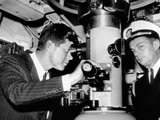 President John Kennedy Looks Through the Periscope of the Nuclear Submarine USS Thomas A Edison