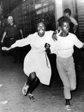 Two Young African Americans Girls  Screaming During Riots in Bedford-Stuyvesant Section of Brooklyn