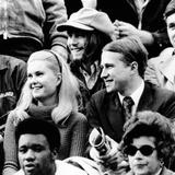 Edward and Tricia Nixon Cox Enjoy the Football Game at Harvard Stadium